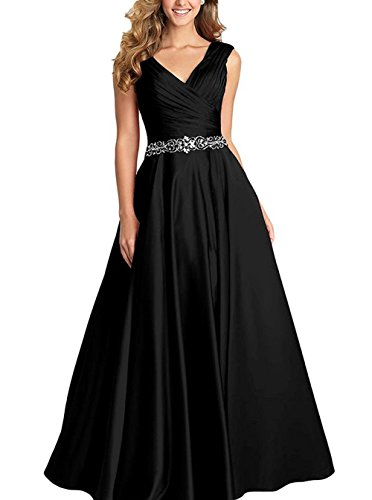 Dannifore Black V-Neck Pleated Satin Prom Dress Beaded Long Formal Evening Gowns for Women Size - Viii Satin