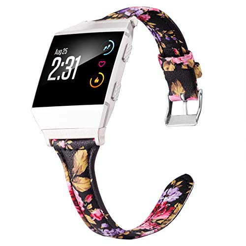 Wearlizer Leather Bands Compatible Fitbit Ionic, Slim Leather Replacement Accessories Straps Wristband Women Men