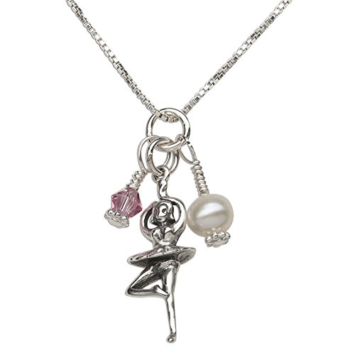 (Girl's Sterling Silver Ballerina Necklace with Cultured Pearl and Pink Swarovski Crystal)