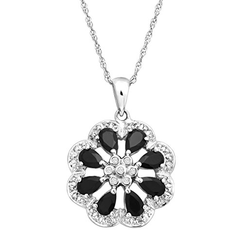 7/8 ct Natural Onyx Flower Pendant Necklace with Diamonds in Sterling Silver