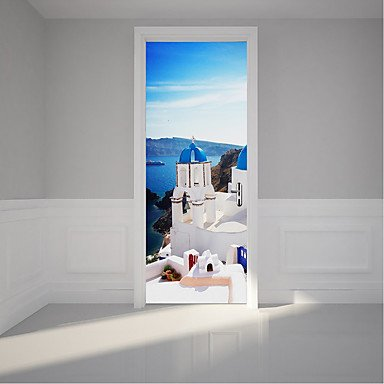 HY&GG Grecia Santorini Pattern Adesivi Porta Sbucciare E Stick ...