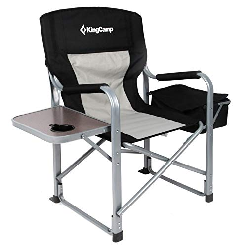 KingCamp Heavy Duty Steel Camping Folding Director Chair with Cooler Bag and Side Table (Outdoor Chairs Directors)