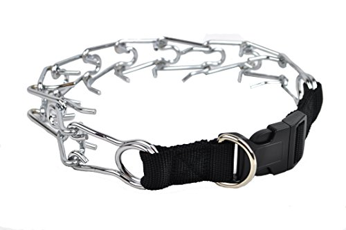 Downtown Pet Supply Deluxe Adjustable Prong Training Collar with Quick Release, No-Choke Pinch Collar is Safe and Effective, Chrome-Plated for Maximum Strength, Will Not Rust or Break (Nylon, Small)