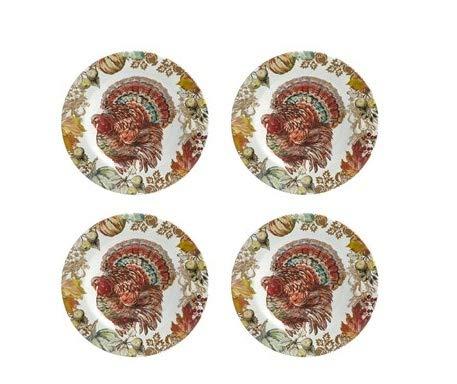 Salad Appetizer - Rustico Fall Thanksgiving Turkey Heavyweight Melamine Salad Plates, Set of 4
