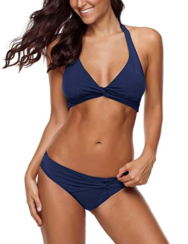 Vetinee Women's Navy Blue Halter Self Tie Twist Knot Ruched Two-Piece Bikini Set Swimsuit Large