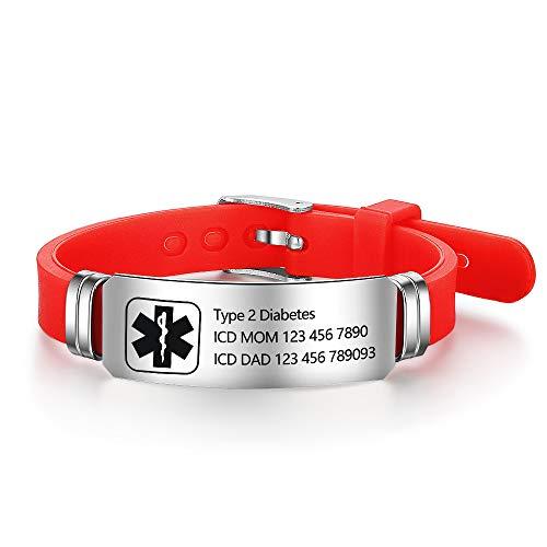 Lam Hub Fong Free Engraving 9 Inches Silicone Adjustable Medical Bracelets Emergency ID Bracelets for Men Women Kids Stainless Steel Rubber Alert Bracelets (Red)