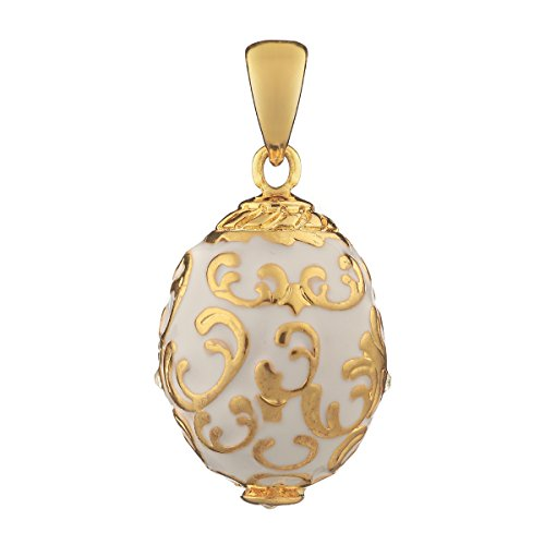 Russian Faberge Style Egg Pendant/Charm with crystals 0.8'' white ()