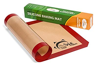 SAHE Premium Professional Food Grade Quality NonStick Silicone Baking Mat & Mats Sheets Supplies bakeware (2) Pk Fits Standard Half Size for daily Use / Bake Cookies and Pizza Baker's gift