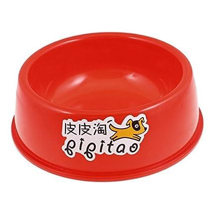 eDealMax perrito perro plástico Pet Food Coma Plato agua de la Taza, 6, Rojo