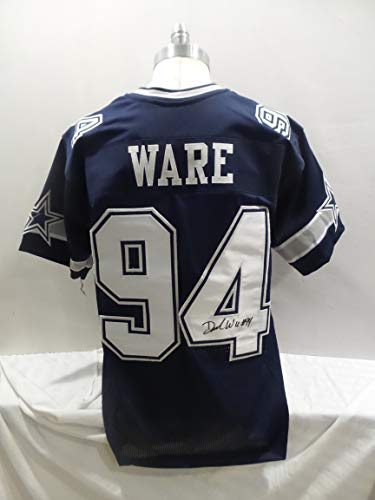 73b9f2dc703 DeMarcus Ware Signed Dallas Cowboys Blue Autographed Jersey Novelty Custom  Jersey