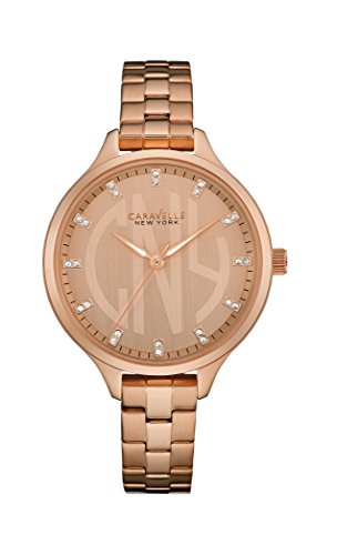 Caravelle New York 44L207 Ladies Round Slim Rose Gold Steel Bracelet Watch