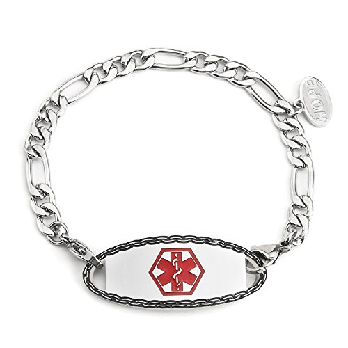 Chain Childrens Id Bracelet - BBX JEWELRY Stainless Steel Medical Alert ID Bracelet with Figaro Chain for Womens and Girls,6