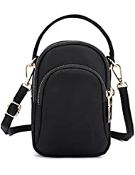 Toniker Nylon Multi-Pockets Small Crossbody Bags Cell Phone Purse Smartphone Wallet for Women Girls with Handy Carry