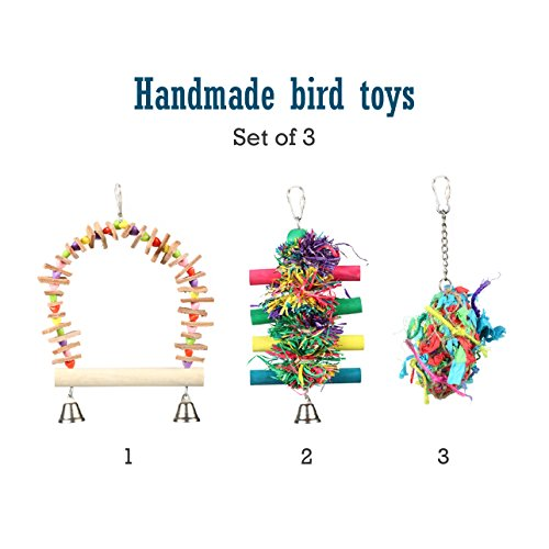 Pet Magasin Hand Made Bird Toys [3-Pack] - Interactive Perch, Stand & Swing for Birds of All kinds by