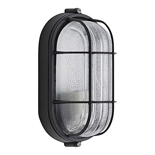 HLWAWA Industrial Wall Sconces E27 Outdoor Oval Bulkhead Wall Security Light Caged Garden Lamp IP54 - Light Fixtures Oval Bulkhead Cage