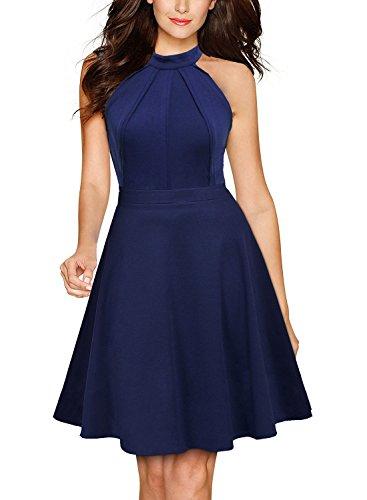 Berydress-Womens-Sleeveless-Halter-Neck-A-Line-Casual-Party-Dress-M-9005-Navy