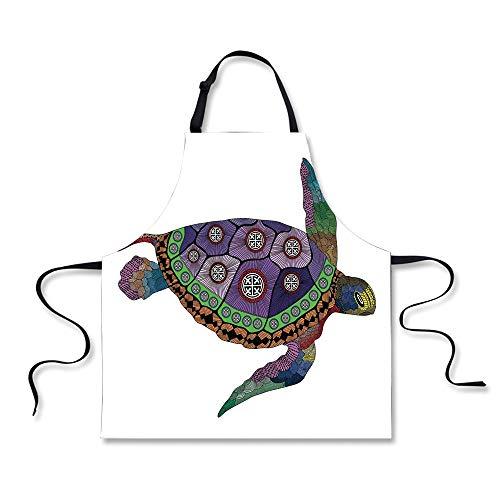 iPrint BBQ Apron,Psychedelic Decor,Sea Turtle with Colorful Ornamental Tattoos on Animal Art Work,Purple Orange Pink, Apron.29.5