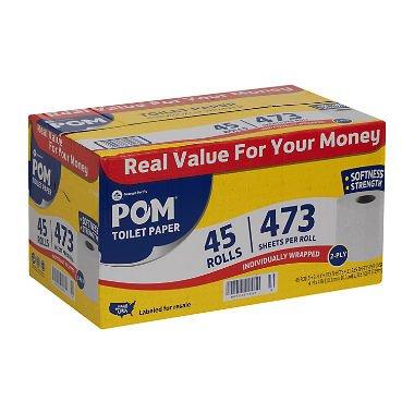 POM Bath Tissue, 2 Ply/473 Sheets (45 Rolls) by pom