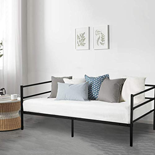 - Daybed Frame Twin Daybed Metal Platform Bed Heavy Duty Steel Slats Box Spring and Foam Mattress Set for Living Room Guest Room
