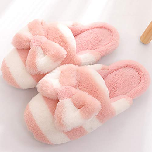 Donad Peluche Chambre Femmes Rose Papillon De Mode A Rayé Chaud Chaussons Slippers Fluffy Noeud Les Antidérapante D'hiver rgq1r4zw