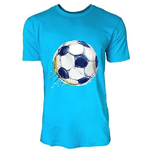 SINUS ART® Fußball in Aquarell-Optik Herren T-Shirts in Karibik blau Cooles Fun Shirt mit tollen Aufdruck