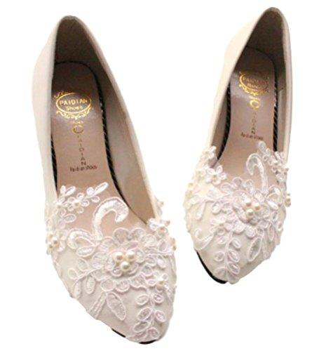 《오치비》꼬마 펌프스 흰색 웨딩 진주 레이스 명주 꽃 신부 웨딩 신발 여성