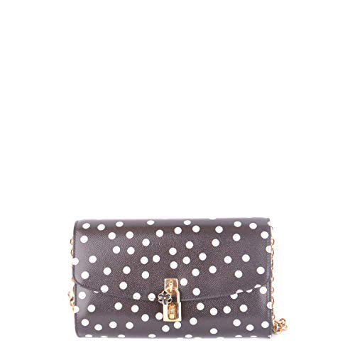Dolce & Gabbana Women's Clutch in Printed Dauphine Leather Black