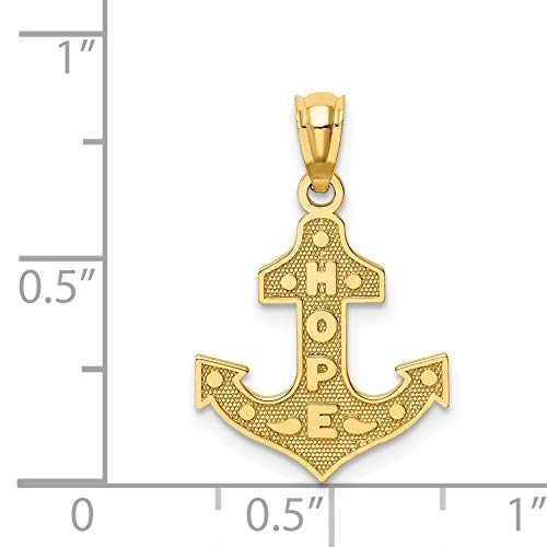14k Yellow Gold Satin And Polished Hope Word On Anchor Pendant 18x14mm