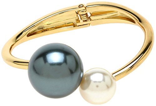 Lova Jewelry Ivory Peacock Pearl Gold Tone Glam Hinge Metal Bangle Bracelet