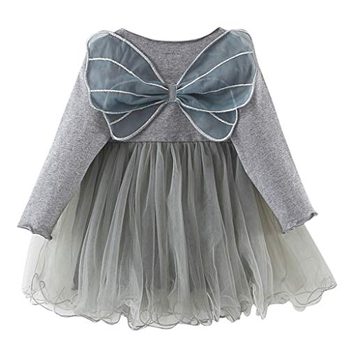 - Tulle Dresses Toddler Kids Baby Girl 3D Butterfly Wing Princess Party Clothes (Gray,2-3T)