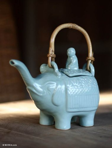 NOVICA Ceramic teapot, Buddha and the Turquoise Elephant