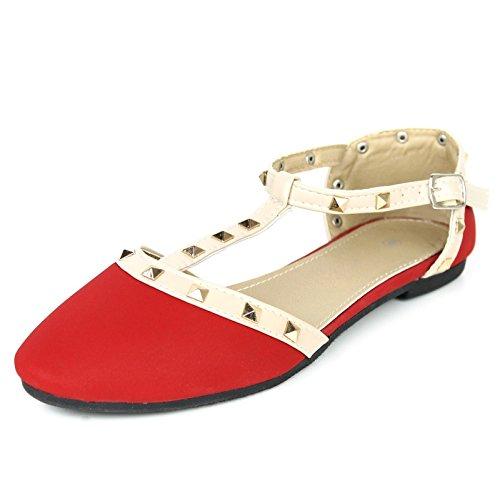 Wells Mujeres Rivet Rochstud Tobillo Con T-strap Tachonado Pointy Toe Flats Rojo