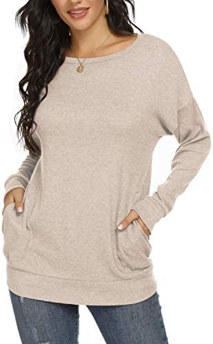 Womens Crewneck T-Shirt Casual Loose Shirts Long Sleeve Blouses Tunic Tops Plus measurement with Pockets
