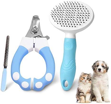 Hebytinco 3 Teiliges Fellpflege Set Für Haustiere Hunde Nagelschere Trimmer Mit Nagelfeile Fellpflegekamm Haustier Hundebürste Katzenbürste Haustier Bürsten Für Hunde Und Katzen Haustier