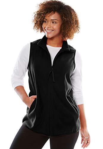 Woman Within Women's Plus Size Zip-Front Microfleece Vest - Black, M ()