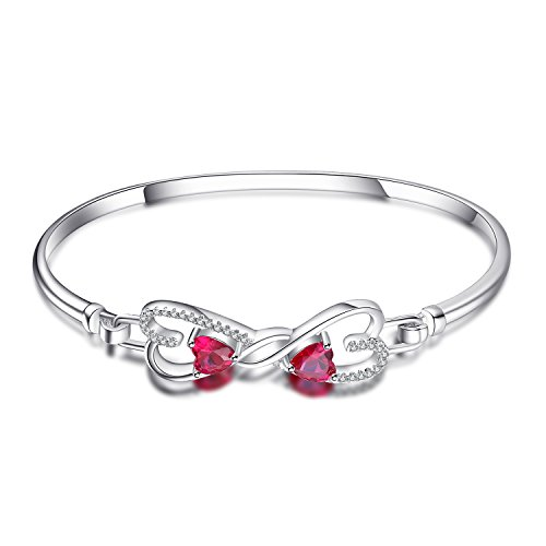 JewelryPalace Forever Love Heart 1.6ct Created Red Ruby Bangle Bracelet 925 Sterling Silver (Ruby Silver Bangles)