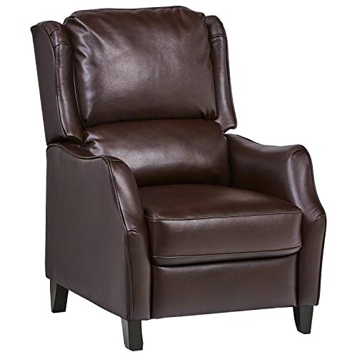 (Ravenna Home Push Back Faux Wingback Leather Recliner, 29.9