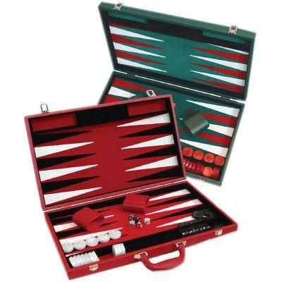 Backgammon façon cuir rouge (ou vert)velours noir et rouge (46 x 28 cm plié) loisir