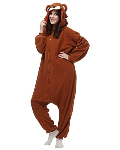 [Bettertime Onesie Pajamas Animal Unisex Cosplay Kigurumi Halloween Costume, Brown, M] (Unisex Halloween Costumes)