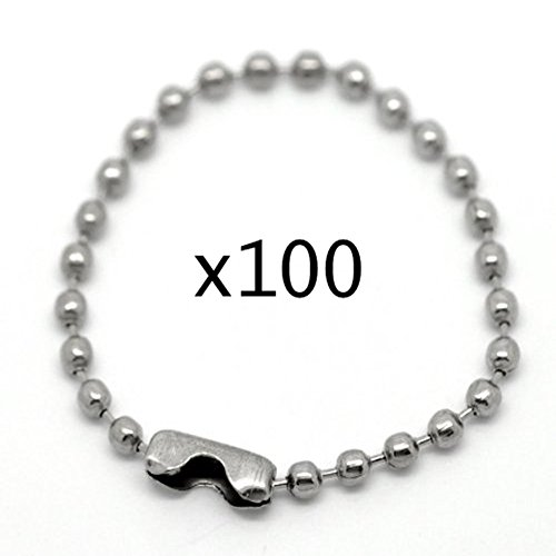 goeasybuy 100pcs 10cm Silver Tone Connector Clasp Ball Chains Keychain Tag (3 ()
