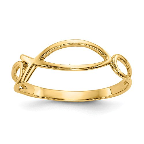 14k Yellow Gold Ichthus Fish Band Ring Size 6.00 Religious Fine Jewelry Gifts For Women For Her