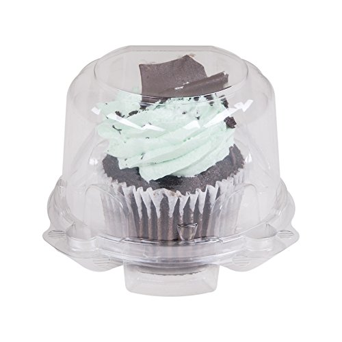 Green Direct Cupcake Boxes - Clear Plastic Dome Cupcake Holder Single Compartment Pack of 50
