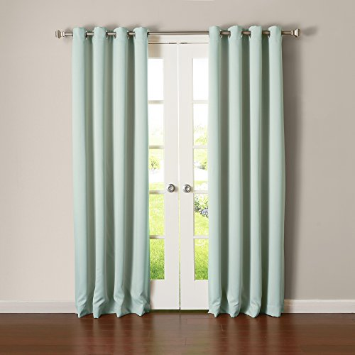 Best Home Fashion Thermal Insulated Blackout Curtains – Stainless Steel Nickel Grommet Top – Mint – 52″W x 84″L – (Set of 2 Panels)