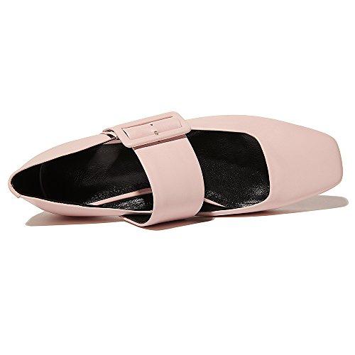 Nine Seven Moda Cuero Puntera Cuadrada Bailarinas Planos Cómodos para Mujer Rosa