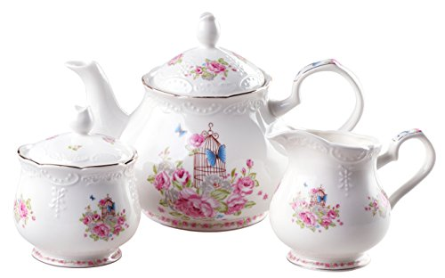 Jusalpha Fine china vintage rose teapot and creamer set (Teapot and creamer set) (Cream Floral Pink)