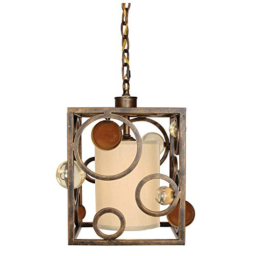 - Van Teal 703950 Wheels of Time 1-Light Mini-Pendant, Golden Ochre Finish and Wheat Accents with Shell Fabric Shade