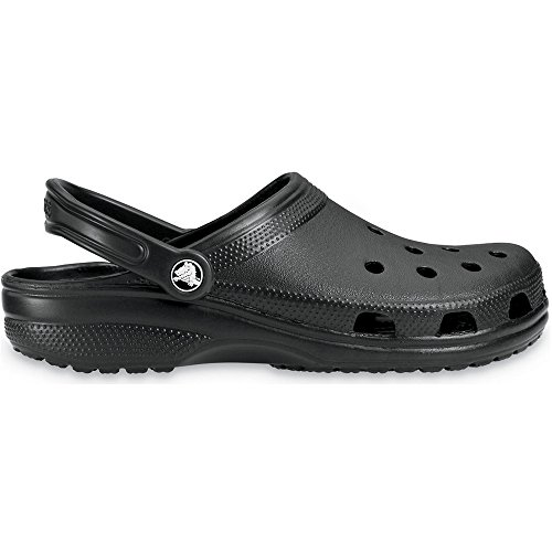 Crocs Mens Classic Unisex Croslite Breathable Strap Beach Clog Black Black