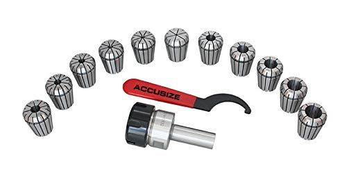 - Accusize Tools - 3/4'' Straight Shank ER32 Chuck w/ 11PC Collets kit, 1/8