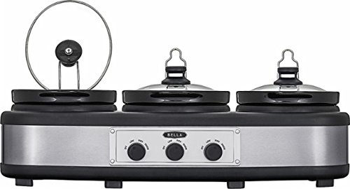 Bella - 3 x 2.5-Quart Triple Slow Cooker - Black