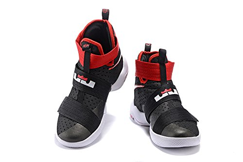Men's Women's Air Zoom Basketball Shoe Soldier 10 Basketball Trainers Sneaker black red US12 (Lebron Zoom Soldier 10 Black And Gold)